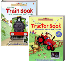 Usborne Wind-Up Tractor Book and Wind-Up Train Book (2 board book set) NEW