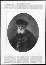 1895  Antique Print - PORTRAITS Rembrandt Old Mans Portrait (262)