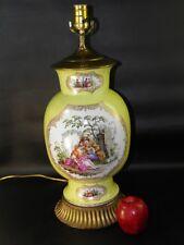 Antique19th C Dresden Hand Painted Figural Porcelain Lamp