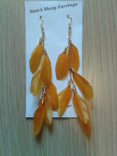 Duck Feather Earrings On Chain In Gold Or Silver 8 Colours Available Hand Made