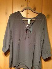 Matilda Jane PBN Castlerock Sheer Gray Dot Shirt Top NWT Womens Adult M Buttons