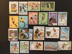 POSTES LAOS MIXED Sport Stamps x 20 values