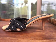COACH Women's Mules Slides Heels Black Fabric Ribbon Bows Size 7 made in Italy