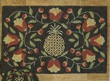 NWT Quality Park Designs  Pineapple Welcome Hooked Door Mat Floor Rug 2'x 3'