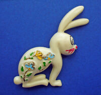 PIN Easter Vintage BUNNY RABBIT White Plastic 1950s with FLOWERS Holiday Brooch