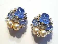Glowing Blue Trifari Flora Leaf Fruit Salad Faux Pearl Earrings Dew Drops