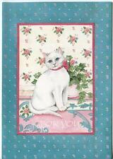 VINTAGE WHITE CAT BLUE EYES ROSE CHINTZ PATTERN GARDEN IVY PLANT GREETING CARD