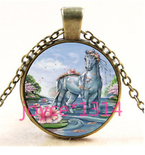 Vintage Horse Cabochon bronze Glass Chain Pendant Necklace TS-4138