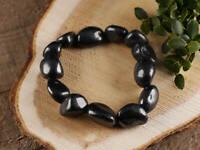 SHUNGITE Stone Bracelet - Stretch Tumbled Stone Beads Jewelry E0277
