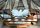 "REDUCED!!!  Vintage American Folk Art Wooden Ship BARRACUDA/ 38""X24""/Seven Sails"