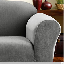 sure fit Stretch Stripe 2 Piece Chair Slipcover Box Cushion Gray black