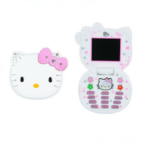 Unlocked Hello Kitty K688 Flip Cute Mini Cellphone For Women Girls Kids Dual Sim
