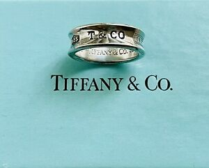 Tiffany And Co Silver 1837 Caved Ring Size 8