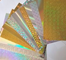 CraftbudyUS A4 SHEETS OF GOLD/SILVER HOLOGRAPHIC CARD/ CRAFT - 250GSM, 12 sheets
