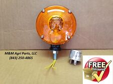 "AMBER WARNING FENDER LIGHT & FLASHER TRACTOR 4 1/2"" DOUBLE VIEW 12V LIGHTS"