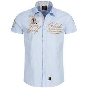 Redbridge Herren Hemd Freizeithemd Regular Fit Bestickt Kurzarm Golf Hellblau