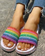 Women Casual Sequins Rainbow Colorful Shoes Sandals Ladies Beach Sliders Slipper