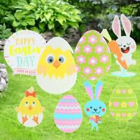 8pcs Easter Yard Signs,Rabbit Egg Yard Stake Signs Easter Decorations for Egg