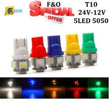 UPTO 10X 5 SMD LED 5050 T10 W5W PUSH WEDGE CAPLESS SIDE LIGHT BULBS  12V-24V