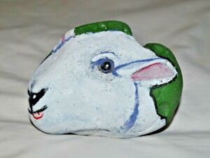 Original Stone Art by Leean of a White Sheep  Rock Art Painting Acrylic On Stone