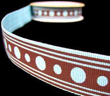 """3 Yds Polkadot Polka Dot Stripes Grosgrain Ribbon 7/8"""" Wide Pink Blue Brown"""