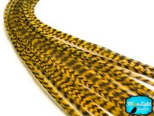 YELLOW Thin Long Grizzly Rooster Loose Feather & Silicon Bead