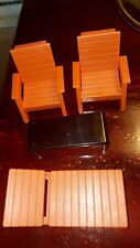 Set of 4 Fisher Price Dollhouse Mini Furniture Patio Chaise Lounge Chairs Table