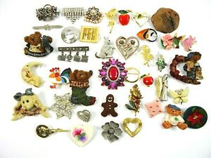 Big Lot of Brooches Pins 40pc Vintage to Modern