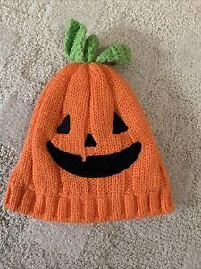 Baby CARTER'S Size 0-3 Months Halloween Orange Jack O'Lantern Pumpkin Beanie Hat