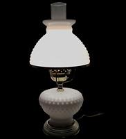 Hurricane Table Lamp Hobnail White Milk Glass Shade Chimney Electric Vintage