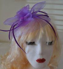 Purple Hat Fascinator Large 20cm Feathers Flower Wedding Hats Ladies Day Races