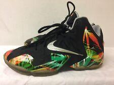 "Nike Lebron 11 ""Everglades"" Black/Metallic Silver/multicolor Shoes Size 6Y"