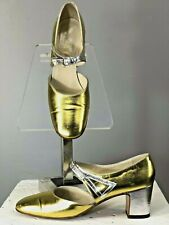 Vtg 60s Shoes Italy Mod Metallic Heels Flapper 20s Deco Fenton Last Saks 5th Ave