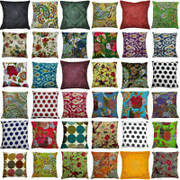 Indian Handmade Cotton Kantha Decor Pillow Cushion Cover Sofa Throw 16""