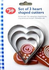 Tala Heart Shape Biscuit Cutters, Icing Pastry Marzipan Stainless Steel, 3 Pack