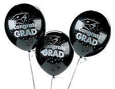 Graduation Party Balloons Lot of 1 Dozen Congrats Grad Black Celebration