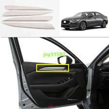 4X Silver Stainless Steel Inner Car Door Decor Cover Trim For Mazda 6 2018-2020