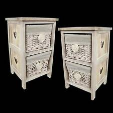 PAIR/SHABBY CHIC 2 WICKER BASKET HEART DESIGN 43CM STORAGE UNIT LAMP TABLE CHEST