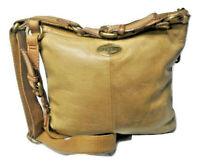 Vintage Fossil Explorer Distressed Leather Crossbody Shoulder Bag Boho Tan