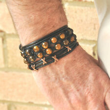 3 Bracelet Set -TIGER'S EYES Shamballa Wrapped Leather Bronze Beads