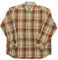 Columbia Mens Shirt Button Down Cotton Plaid Long Sleeve Size 2XL Heavyweight