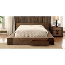 Transitional Style Rustic NaturalTone Finish Est King Size Bed Bedroom Furniture