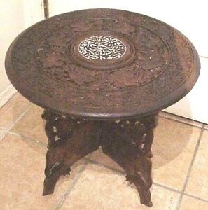 """VINTAGE RETRO 17"""" X 17""""  HAND CARVED WOODEN FLORAL INLAY ROUND ACCENT TABLE"""
