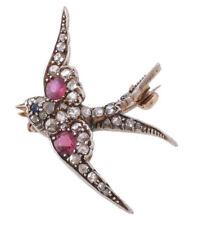 Victorian Look 925 Silver Brooch Pin 1.60ct Rose Cut Diamond Ruby Sapphire