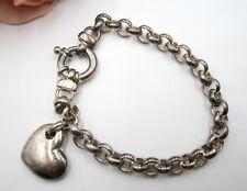 Vintage Italy  925 Milor sterling silver bracelet with heart charm 26.4 gram