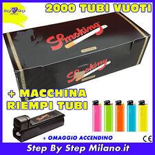 2000 TUBI tubetti SMOKING  SIGARETTE VUOTE con filtro + Macchinetta Riempi Tubi