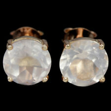 NATURAL AAA ROSE QUARTZ 9 MM. ROUND STERLING 925 SILVER STUD EARRING