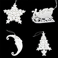 Set 4 Glitter Christmas Tree Hanging Decorations- Santa Tree Star Sleigh - White