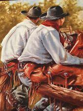 "Happy Trails Western Cowboys Quilt Square Cotton 11 1/2"" x 10 1/2"" BIN"