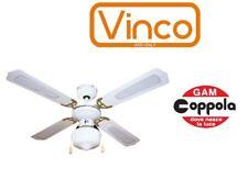 VENTILATORE DA SOFFITTO BIANCO VINCO 70912 4 PALE 1 LUCE 3 VELOCITA' COM.CATENA